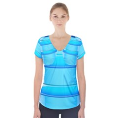 Large Water Bottle Short Sleeve Front Detail Top