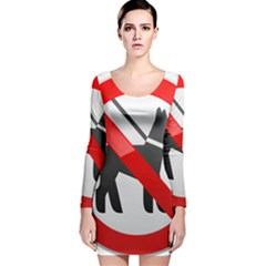 No Dogs Sign Prohibition Clipart Long Sleeve Velvet Bodycon Dress