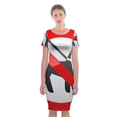 No Dogs Sign Prohibition Clipart Classic Short Sleeve Midi Dress