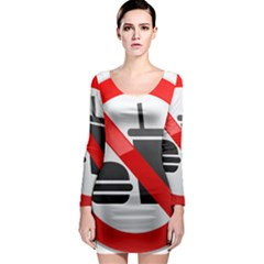 No Eating Or Drinking Prohibition Sign Clipart Long Sleeve Bodycon Dress