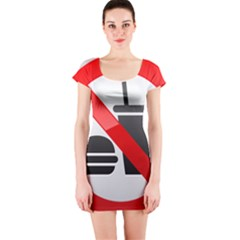 No Eating Or Drinking Prohibition Sign Clipart Short Sleeve Bodycon Dress