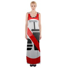 No Eating Or Drinking Prohibition Sign Clipart Maxi Thigh Split Dress