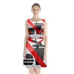 No Eating Or Drinking Prohibition Sign Clipart Sleeveless Chiffon Waist Tie Dress