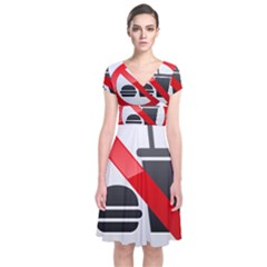 No Eating Or Drinking Prohibition Sign Clipart Short Sleeve Front Wrap Dress
