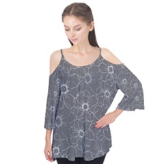 Gray And White Daisies  Flutter Sleeve Tee