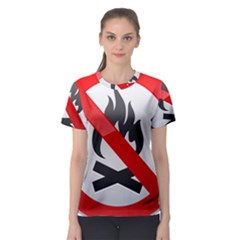 No Fire Prohibition Sign Clipart Women s Sport Mesh Tee