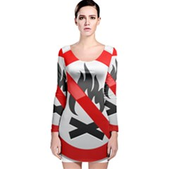 No Fire Prohibition Sign Clipart Long Sleeve Velvet Bodycon Dress