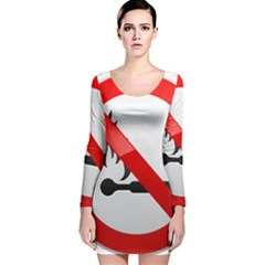 No Naked Flames Prohibition Sign Clipart Long Sleeve Velvet Bodycon Dress