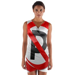 No Parking Prohibition Sign Clipart Wrap Front Bodycon Dress