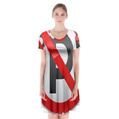No Parking Prohibition Sign Clipart Short Sleeve V-neck Flare Dress