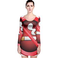 No Smoking Prohibition Sign Clipart Long Sleeve Velvet Bodycon Dress
