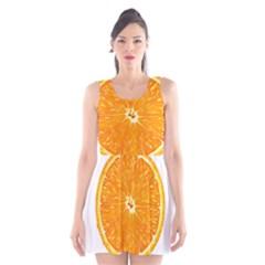 Orange Slice Scoop Neck Skater Dress