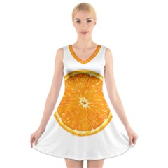 Orange Slice V-Neck Sleeveless Skater Dress