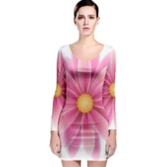 Pink Flower Clip Art Long Sleeve Bodycon Dress