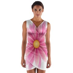 Pink Flower Clip Art Wrap Front Bodycon Dress