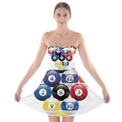 Racked Billiard Pool Balls Strapless Bra Top Dress