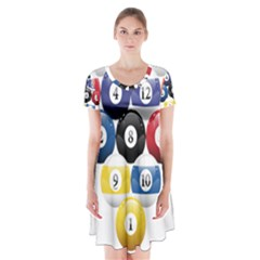 Racked Billiard Pool Balls Short Sleeve V-neck Flare Dress