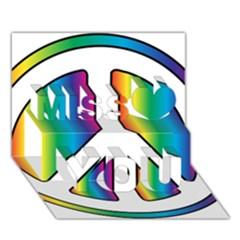 Rainbow Peace Sign Logo Miss You 3D Greeting Card (7x5)