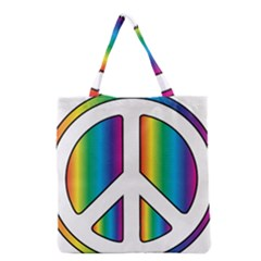 Rainbow Peace Sign Logo Grocery Tote Bag