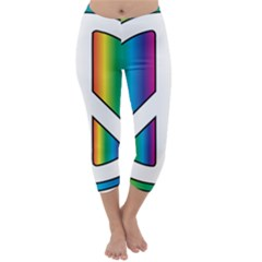 Rainbow Peace Sign Logo Capri Winter Leggings