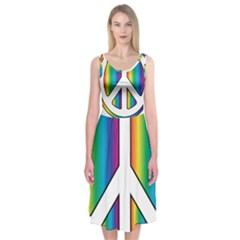 Rainbow Peace Sign Logo Midi Sleeveless Dress