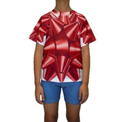 Red Bow Kids  Short Sleeve Swimwear