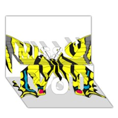 Simple Butterfly Vector Miss You 3D Greeting Card (7x5)