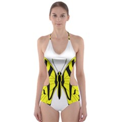 Simple Butterfly Vector Cut-Out One Piece Swimsuit