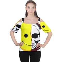 Skull Behind Your Smile Women s Cutout Shoulder Tee