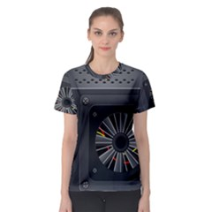 Special Black Power Supply Computer Women s Sport Mesh Tee