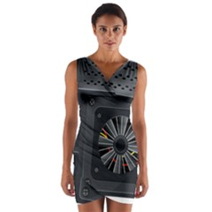 Special Black Power Supply Computer Wrap Front Bodycon Dress