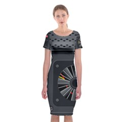 Special Black Power Supply Computer Classic Short Sleeve Midi Dress