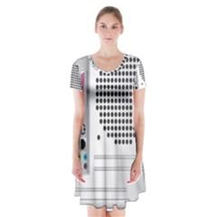 Standard Computer Case Back Short Sleeve V-neck Flare Dress