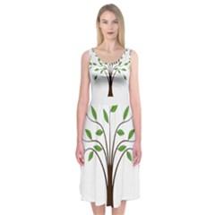 Tree Vector Midi Sleeveless Dress