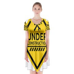 Under Construction Warning Sign Clipart Short Sleeve V-neck Flare Dress