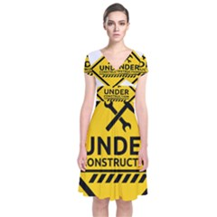 Under Construction Warning Sign Clipart Short Sleeve Front Wrap Dress