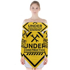 Under Construction Warning Sign Clipart Long Sleeve Off Shoulder Dress