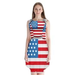 Usa Flag Sleeveless Chiffon Dress