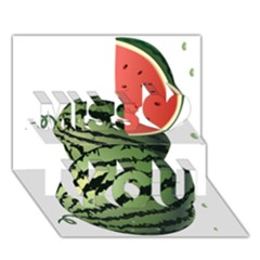 Watermelon Miss You 3D Greeting Card (7x5)