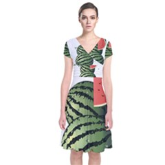 Watermelon Short Sleeve Front Wrap Dress