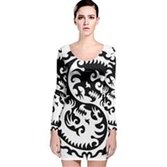 Ying Yang Tattoo Long Sleeve Velvet Bodycon Dress