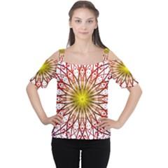 A Fractal Flower Women s Cutout Shoulder Tee