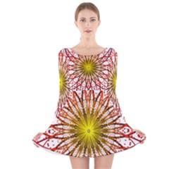 A Fractal Flower Long Sleeve Velvet Skater Dress