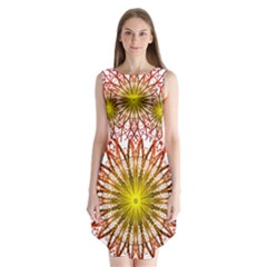 A Fractal Flower Sleeveless Chiffon Dress