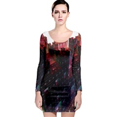 Abstract Building Fractal Long Sleeve Bodycon Dress
