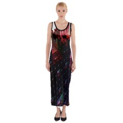 Abstract Building Fractal Fitted Maxi Dress