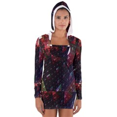 Abstract Building Fractal Women s Long Sleeve Hooded T-shirt