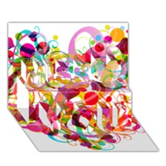 Abstract Colorful Heart Miss You 3D Greeting Card (7x5)