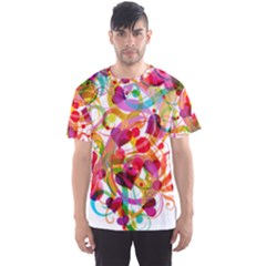 Abstract Colorful Heart Men s Sport Mesh Tee