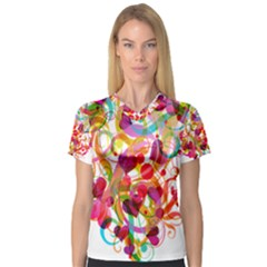 Abstract Colorful Heart Women s V-Neck Sport Mesh Tee